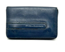 Piquadro Leather Card Business Card Wallet Holder with Magnetic Closure Blue