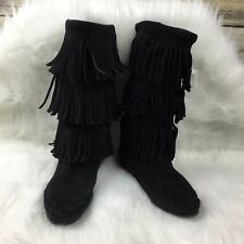 Minnetonka Women's Size 6 Black Suede Three Layer Fringe Pull On Moccasin Boots