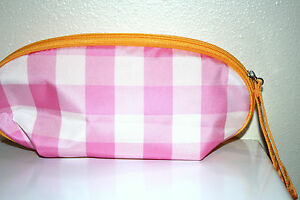 New CLINIQUE Pink Plaid Orange Trim TRAVEL BRUSH/MAKEUP CASE COSMETIC BAG