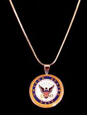 18k Sterling Silver Navy Charm Necklace