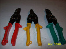 3pc. CR-V HEAVY DUTY PROFESSIONAL TIN SNIPS: LEFT -RIGHT-AND STRAIGHT CUT EDGES