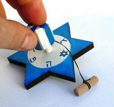 Wood Star of David Dreidel Hanukkah Spinning Top Game Judaica Hand Made Israel