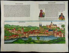 PASSAU BAYERN PATAVIA INKUNABEL HOLZSCHNITT ANSICHT SCHEDEL WELTCHRONIK 1493
