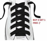 NEW BLACK FLAT SHOE BOOT LACES TRAINER LACES HIGH QUALITY LONG LASTING (3 FOR 2)