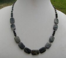 HDMD by Cyndi Necklace of Natural Black and Gray Marble w/ Black Glass Accents