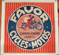 Original 1930's French Favor Motorcycle Poster~Linen-Mount w/Easy-Hang Grommets