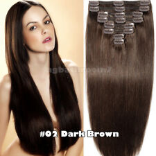 Black Friday Thick Human Hair Clip In Double Weft Extensions Full Head 170G+ USA