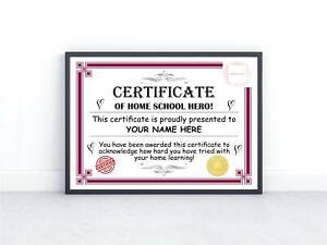 Personalised Certificate of Achievement Kids Work From Home School Hero