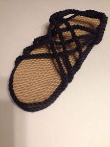 Men's Size 10 Rope  Sandals Navy. Vegan. Medium Width