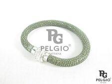 PELGIO Genuine Polished Stingray Skin Leather Rhinestone Magnetic Bracelet Gray