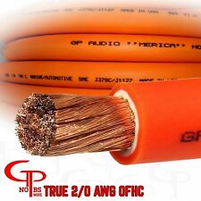 25 ft TRUE AWG 2/0 Gauge COPPER Power Wire ORANGE Ground Cable GP Car Audio USA