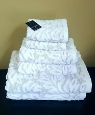 Tahari 'Tuscany' Sculpted Filigree Lavender White Bath Hand Face Towel Set 6pc