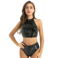 2Pcs Womens Sleeveless Crop Top Wet Look Bra Camisole High Cut Briefs Clubwear