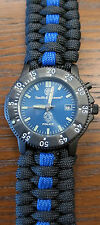 POLICE Smith & Wesson Watch Face with Thin Blue Line Paracord Watch Band