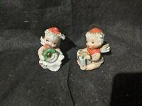 RARE 2 Lot Mini Christmas Angel Child Figurine w Gift Present wreath 50s japan