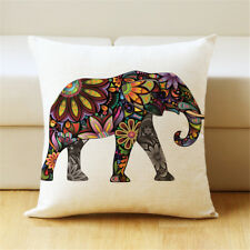 a-level elephant pillow floral printed linen cover for soft throw pillowcase TB