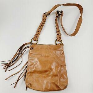 HOBO International Small Distressed Brown Leather Crossbody Shoulder Bag Purse