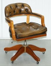STUNNING CHESTERFIELD ADMIRALS COURT CAPTAINS AGED BROWN LEATHER CUSHIONED CHAIR