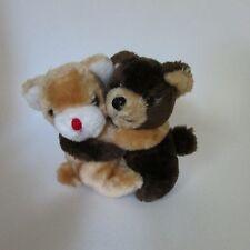 kamar plush & bean pellet hugging bears light dark brown made Korea vintage