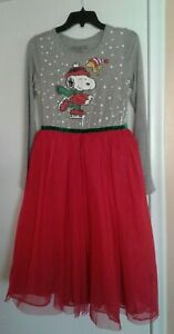 Peanuts Girls Grey Sequin Snoopy Holiday Dress Red Tulle Overskirt XL