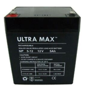 ULTRAMAX NP5-12, 12V 5Ah Sealed Lead Acid - AGM - VRLA Battery
