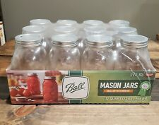 32Oz 12-Pack Ball Mason Jars Regular Mouth Quart with Lids & Rings, Canning, NEW