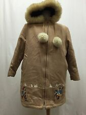 Vintage Northern Sun Gemini Wool w/ Fur Trim Inuit Eskimo Parka Coat