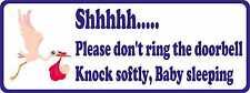 Door Sign Sticker Window Shhh Baby Sleeping Don't ring the Door Bell