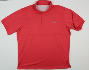 COLUMBIA XL MEN'S S/S PFG FISHING POLO SHIRT IN CORAL VENTS AT BACK
