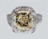 18k Gold 3.70 CT Fancy Yellow Cushion Cut Diamond Engagement Ring GIA Certified