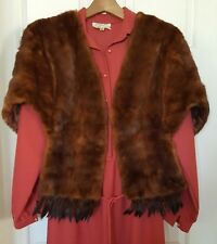 A CORNELIUS ORIGINAL SYDNEY Fur Shrug Bolero Brown Vintage Stole Wrap Coat Cape