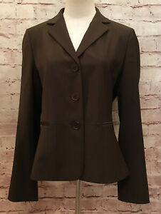Talbots Petites 10P Brown 3 Button Front Blazer Wool Blend Long Sleeve Lined NEW