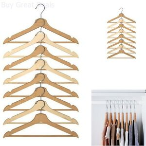 Ikea Wood Curved Clothes Hanger, 8 Pack, Natural - New