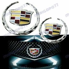 X2 Chrome Cadillac Front Grille Rear Trunk Lid Badge Emblem for Escalade SRX XTS
