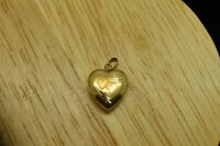 14K YELLOW GOLD HEART SHAPED SMALL LOCKET PENDANT CHARM -NICE ETCHED DESIGN