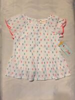 New Girls Cat Jack White Embroidered Dressy Blouse Shirt Top Size 12 Months
