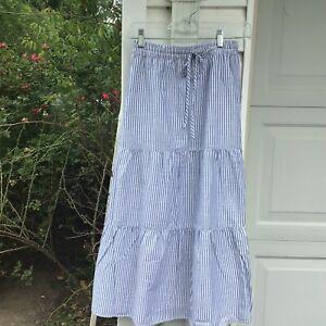 NWT Talbots Cute Blue White Striped Tiered Cotton Lined Midi Skirt 2X 18W 20W