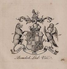 1779 ANTIQUE PRINT ~ BEAUCLERK ~ FAMILY CREST COAT OF ARMS LORD VERE