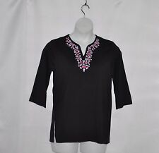 Bob Mackie Embroidered Split Neck 3/4 Sleeve Top Size S Black