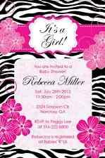 Zebra Pink Flower Elegant classy Baby Shower Custom Birthday Invitation digital