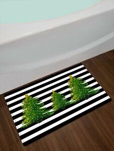 Christmas Tree Shower Curtain Black White Striped Green Fir For Bathroom Decor