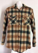 Vtg 70s 80s Woolrich Wool Blend Flannel Shirt Brown Green M Plaid