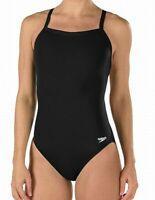 Speedo Womens Swimwear Black Size 8 /34 Endurance+ Flyback Swimsuit $69 624