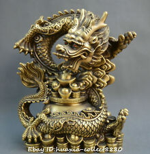 Chinese fengshui bronze dragon yuanbao money treasure bowl wealth lucky statue
