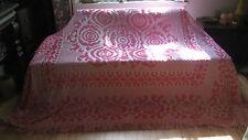 Vintage 50s 60s Pink Floral Chenille Fringe Bedspread Blanket Mod Hippie Boho