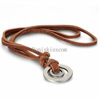 Double Ring Pendant Necklace w Adjustable Brown Leather Cord Necklace Chain