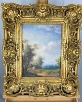 G. TURMAN Vintage 1960s Meadow Landscape Oil on Canvas in Ornate Gilt Wood Frame