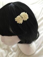 "Wedding Flower Girls Small 2"" Ivory Mulberry Rose Flower Hair Clip Ivory Clip"