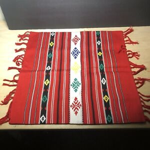 Serape Southwestern Mexican Red Patterned Mat