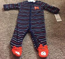 NWT CARTER'S BABY PAJAMAS NAVY BLUE TERRY CLOTH SNAP STRIPED BEAR 3 M